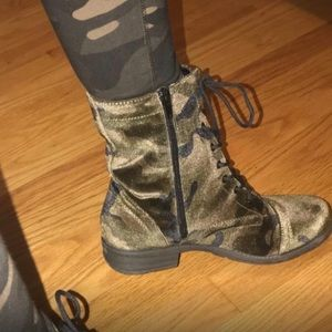 Military Camo Lace Up Moto Combat Boots